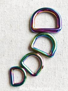 """*BULK 100 pcs*Rainbow Iridescent Alloy Round Edge D-Rings in 1.25cm(1/2""""), 1.5cm (5/8""""), 2cm (3/4""""), 2.5cm(1"""")"""