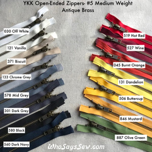 "YKK Size 5 Separating/Open-Ended Zipper with ANTIQUE Brass Metal Teeth. Medium Weight for Jackets. 15 Tape Colours.  25CM (10"") TO 70CM (27.6"")"