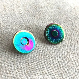 *BULK 50 sets* Rainbow Iridescent 18mm Slim Line Embossed Magnetic Snap Buttons