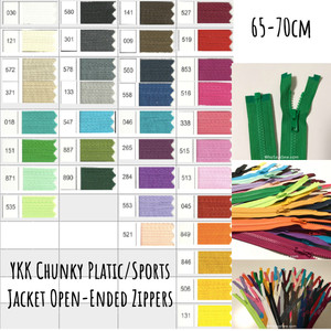 "65cm-70cm(25.6""-27.6"") YKK Size 5 Chunky Moulded Plastic Separating/Open Ended Zipper. Medium Weight for Jackets/Vests. 24 Colours"