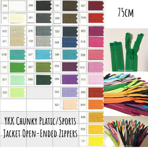 "75cm(29.6"") YKK Size 5 Chunky Moulded Plastic Separating/Open Ended Zipper. Medium Weight for Jackets/Vests. 23 Colours"