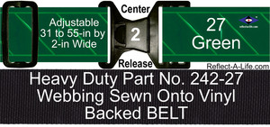 Belt Green Heavy Duty 2-in Center Release Buckle