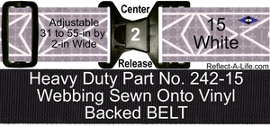 Belt ANSI White Heavy Duty 2-in Center Release Buckle
