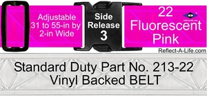 Belt Fluorescent Pink Standard Duty 2-in Side Release Buckle