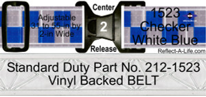 Belt Checker White Blue Standard Duty 2in Cntr Release Buckle Bright