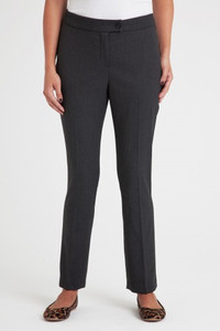 Annabel Stretch Flannel Pant in Charcoal Gray