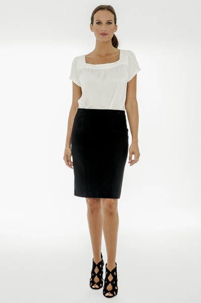 Natalie Stretch Ponte Pencil Skirt in Black