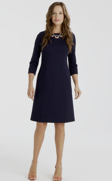 Nora Stretch Ponte Shift Dress in Navy Blue