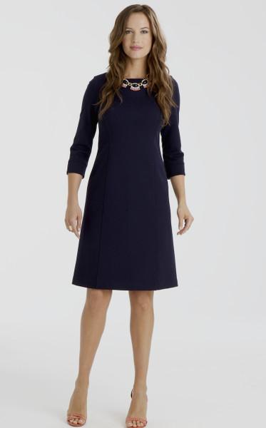 Nora Stretch Ponte Shift Dress in Navy Blue