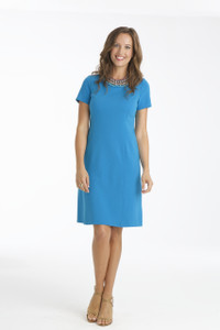 Marisa Lightweight Ponte Shift Dress in Aegean Blue