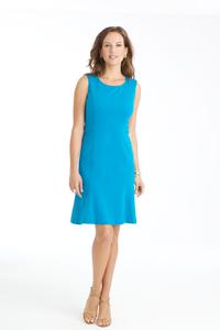 Carmen Lightweight Ponte Flip Dress in Aegean Blue