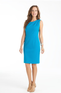 Sabrina Stretch Lightweight Ponte Dress in Aegean Blue