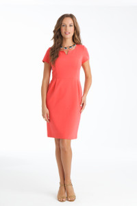 Jackie Stretch Ponte Dress in Capri Coral