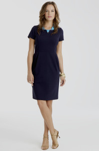 Jackie Stretch Ponte Dress in Navy Blue