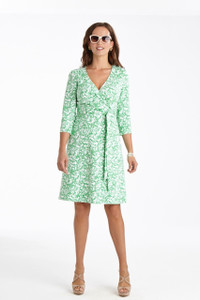 Carson Stretch Ponte Faux Wrap Dress in Meadow Green/White Floral Print