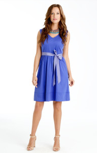 Vivian Stretch Poplin Dress in Hydrangea