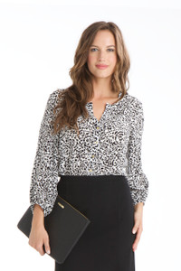 Sophie Silk Crepe de Chine Blouse in Black/White Ikat Floral