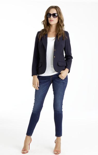 Isabel Two-Button Stretch Wool Blazer in Navy Blue