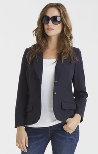 Isabel Two-Button Stretch Wool Blazer in Navy Blue