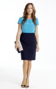Natalie Stretch Ponte Pencil Skirt in Navy Blue