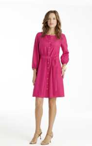 Celia Silk/Cotton Shirt Dress in Watermelon Pink