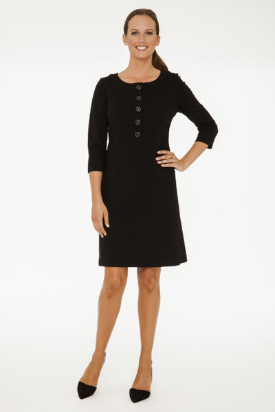 Chelsea Stretch Ponte Henley Dress