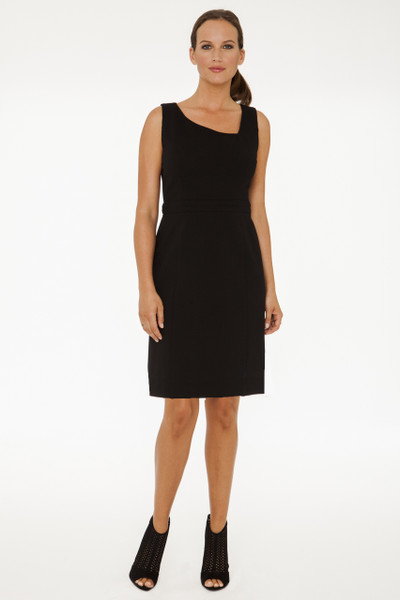 Gabriella Asymmetrical Neck Stretch Ponte Dress in Black