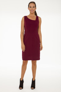 Gabriella Asymmetrical Neck Stretch Ponte Dress in Crimson