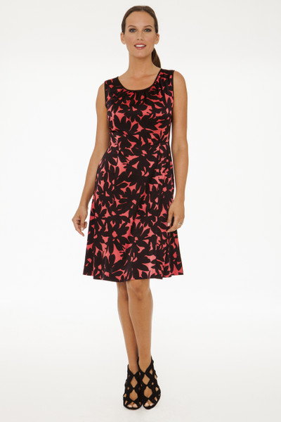 Alessandra Stretch Silk Charmeuse Dress in French Rose Floral