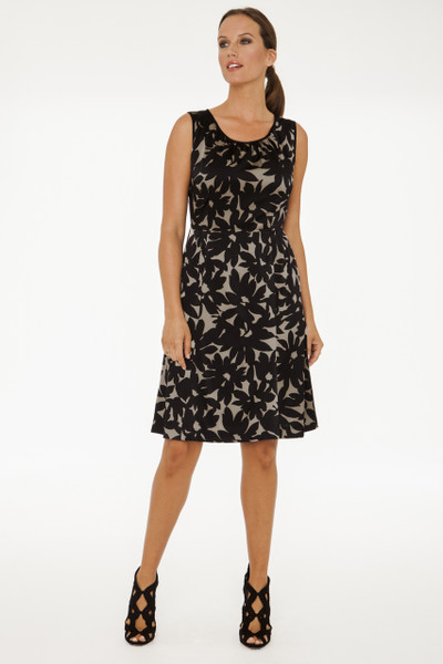 Alessandra Stretch Silk Charmeuse Dress in Taupe Floral