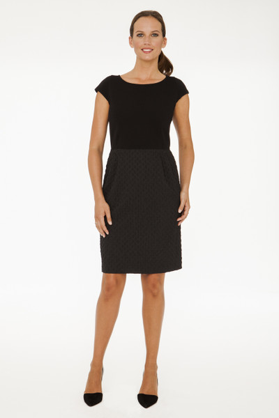 Brigitte Stretch Ponte and Textured Stretch Woven Combo Dress in Black