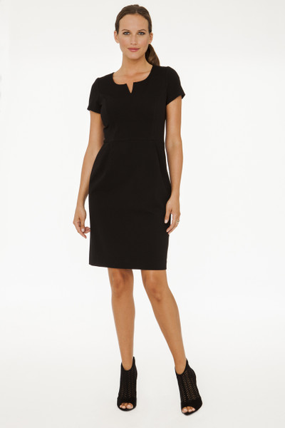 Jackie Stretch Ponte Dress in Black