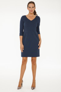 Eva Stretch Ponte V-Neck Dress in Slate Green