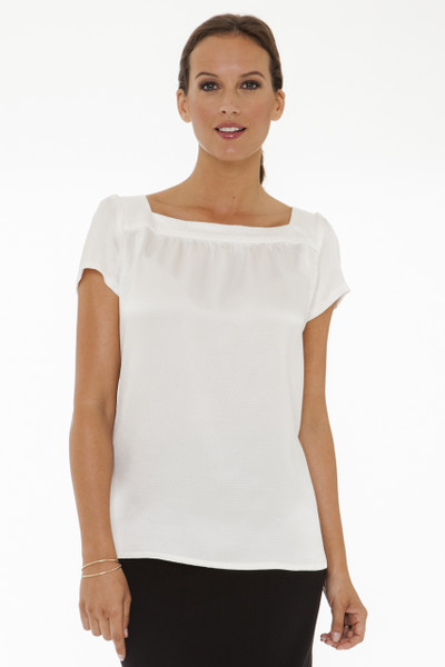 Elodie Hammered Silk Satin Short Sleeve Tunic in Ivory