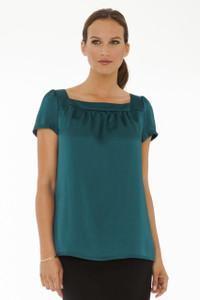 Elodie Silk Hammered Silk Short Sleeve Tunic in Emerald Green