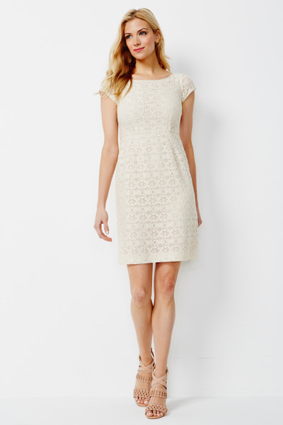 Delphine Cotton Lace Dress in Ivory