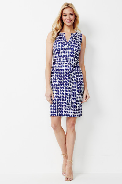Sydney Stretch Ponte Dress in Navy and White Graphic Print