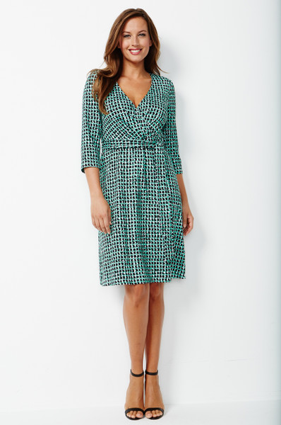 Carson Stretch Ponte Faux Wrap Dress in Mint Green and Black Texture Print