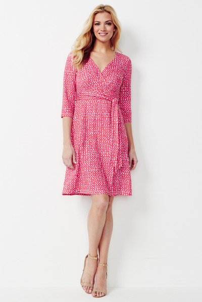 Carson Stretch Ponte Faux Wrap Dress in Tomato Red and Lilac Texture Print