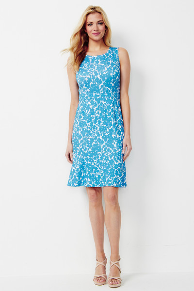 Carmen Stretch Ponte Dress in Cerulean Blue Floral Print