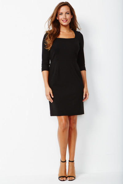Sloane Stretch Ponte Dress in Black