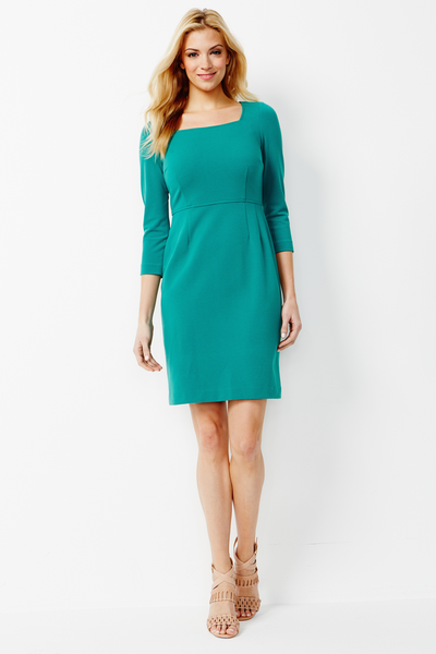 Sloane Stretch Ponte Dress in Cabana Green
