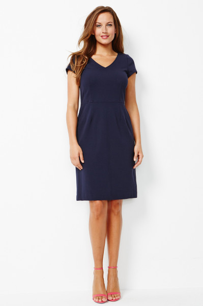 Marina Stretch Ponte Dress in Navy Blue