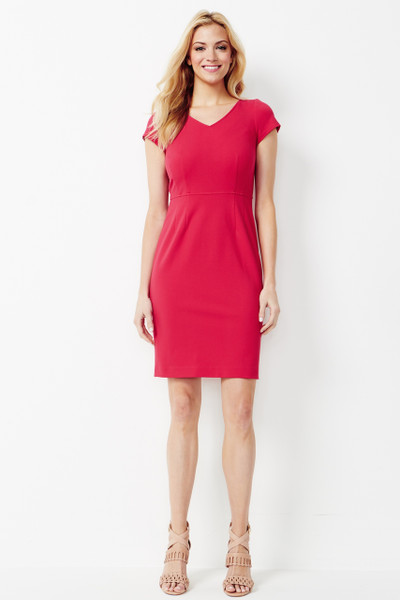 Marina Stretch Ponte Dress in Geranium Pink