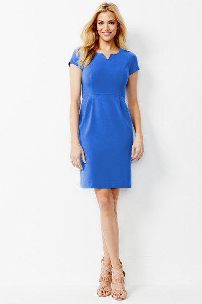 Jackie Stretch Ponte Dress in French Blue