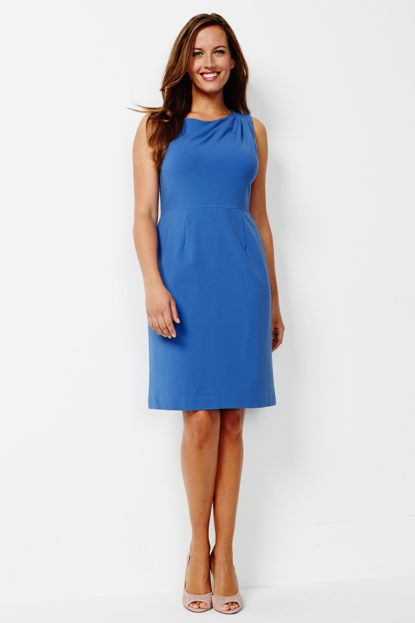 Sabrina Stretch Ponte Dress in French Blue