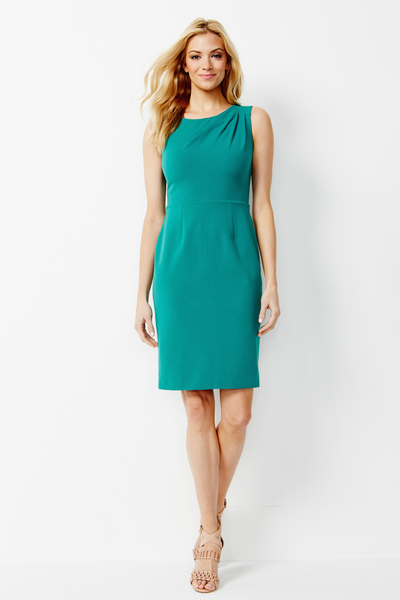 Sabrina Stretch Ponte Dress in Cabana Green