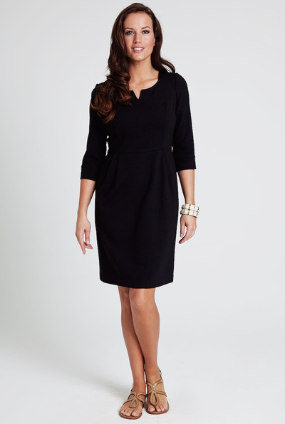 Juliet Stretch Ponte Dress in Black