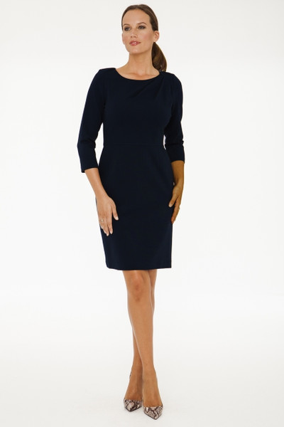 Belle Stretch Ponte Twist Dress in Black