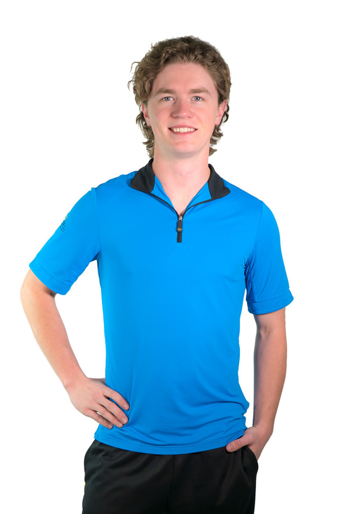 Henrik Men's UV Short Sleeve Shirt Royal Blue with Black Trim
